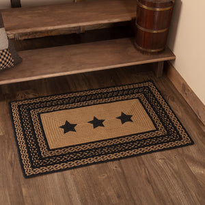 "Farmhouse Star Stencil Rectangle Braided Rug 24x36"" - with Pad"