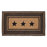 "Farmhouse Star Stencil Rectangle Braided Rug 27x48"" - with Pad - Primitive Star Quilt Shop"