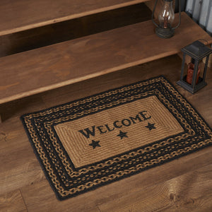 "Farmhouse Star ""Welcome"" Rectangle Braided Rug 20x30"" - with Pad"
