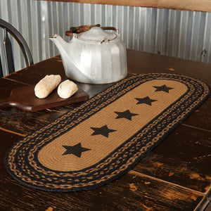 Farmhouse Star Stencil Braided Runner 13x36""