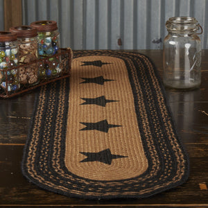 Farmhouse Star Stencil Braided Runner 13x48""