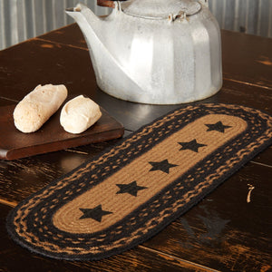 Farmhouse Star Stencil Braided Runner 8x24""