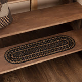 "Farmhouse Star Oval Braided Stair Tread Latex Backed 8.5x27"" - Primitive Star Quilt Shop"