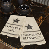 Farmhouse Star Country Life Tea Towel - Set of 2 - Primitive Star Quilt Shop