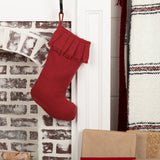 "Festive Burlap Red Ruffled Stocking 11x15"" - Primitive Star Quilt Shop"