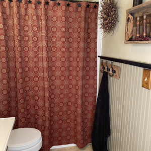 Gettysburg Cranberry and Tan Woven Shower Curtain