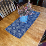 "Gettysburg Navy and Tan Woven Table Runner 32"" - Primitive Star Quilt Shop"
