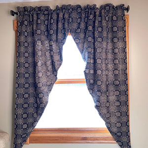 Gettysburg Navy and Tan Woven Long Swag Curtain 63""