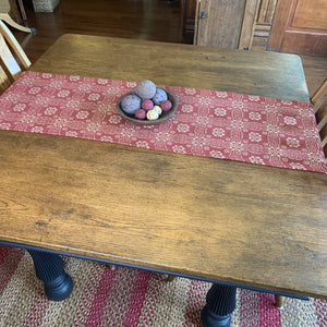 Gettysburg Cranberry and Tan Woven Table Runner 56""