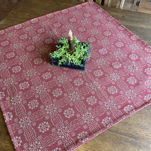 Gettysburg Cranberry and Tan Woven Small Table Cloth 34""