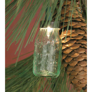Glass Mini Mason Jar Light String Ornament Set