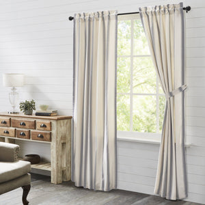 Grace Grain Sack Stripe Lined Panel Curtains 84""