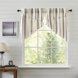 Grace Grain Sack Stripe Lined Prairie Swag Curtains