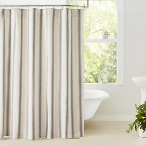 Grace Grain Sack Stripe Lined Shower Curtain