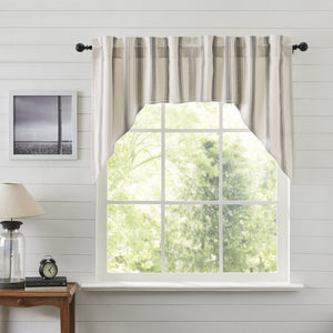 Grace Grain Sack Stripe Lined Swag Curtains