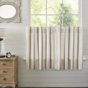 Grace Grain Sack Stripe Lined Tier Curtains 36""