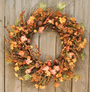 Harvest Garden Twig Wreath 18""