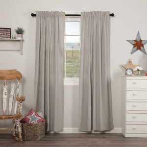 Hatteras Blue Seersucker Lined Panel Curtains 84""