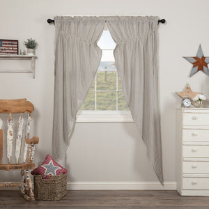 Hatteras Blue Seersucker Lined Long Prairie Curtains 84""