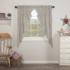 Hatteras Blue Seersucker Lined Prairie Curtains 63""