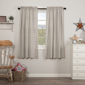 Hatteras Blue Seersucker Lined Short Panel Curtains 63""