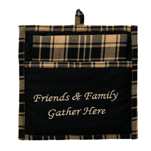 Heritage Check Black Pot Holder and Tea Towel Set