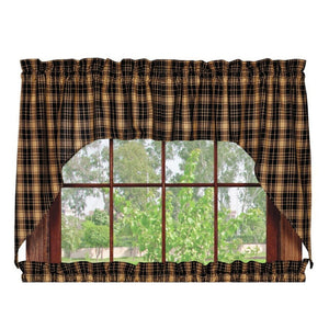 Heritage Check Black Swag Curtains