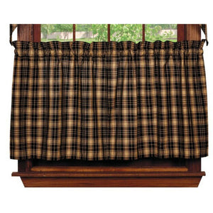 Heritage Check Black Tier Curtains 24""