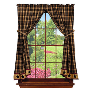 Heritage Star Black Short Panel Curtains 63""
