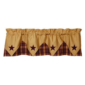 Heritage Star Wine Pointed Valance 60""