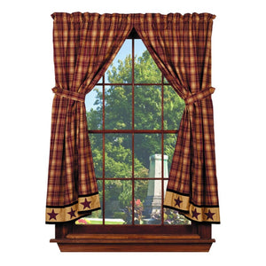 Heritage Star Wine Short Panel Curtains 63""