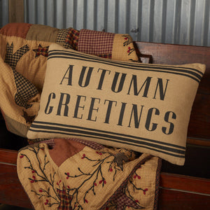 "Heritage Farms Autumn Greetings Pillow 14x22"" Filled"