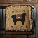 "Heritage Farms Baa Baa Blessings Pillow 18"" Filled - Primitive Star Quilt Shop"