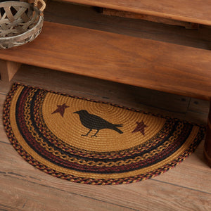 "Heritage Farms Crow Half Circle Braided Rug 16.5x33"" - with Pad"