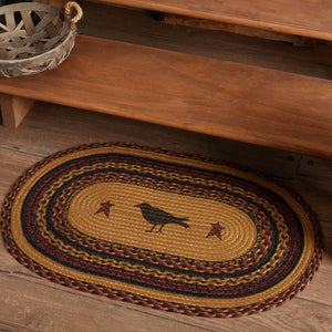 "Heritage Farms Crow Oval Braided Rug 20x30"" - with Pad"
