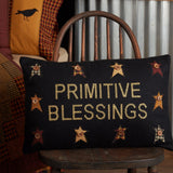 "Heritage Farms Primitive Blessings Pillow 14x22"" Filled - Primitive Star Quilt Shop"