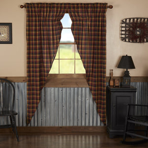 Heritage Farms Primitive Check Lined Long Prairie Curtains 84""