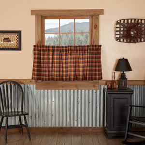 Heritage Farms Primitive Check Lined Tier Curtains 24""