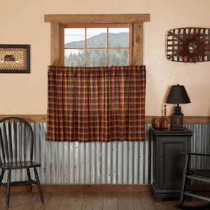 Heritage Farms Primitive Check Lined Tier Curtains 36""