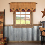"Heritage Farms Primitive Star and Pip Layered Lined Valance 60"" - Primitive Star Quilt Shop"