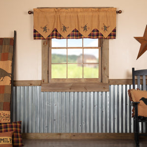 Heritage Farms Primitive Star and Pip Layered Lined Valance 60""