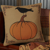 "Heritage Farms Pumpkin and Crow Pillow 18"" Filled - Primitive Star Quilt Shop"