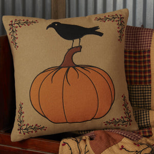 "Heritage Farms Pumpkin and Crow Pillow 18"" Filled"
