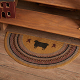 "Heritage Farms Sheep Half Circle Braided Rug 16.5x33"" - with Pad - Primitive Star Quilt Shop"