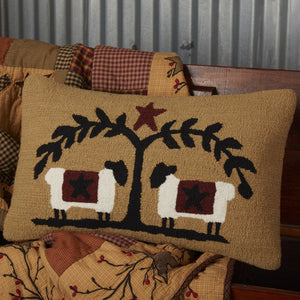 "Heritage Farms Sheep and Star Hooked Pillow 14x22"" Filled"