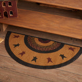 "Heritage Farms Star Half Circle Braided Rug 16.5x33"" - Primitive Star Quilt Shop"