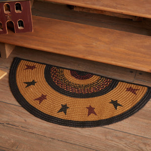 "Heritage Farms Star Half Circle Braided Rug 16.5x33"" - with Pad"