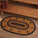 "Heritage Farms Star Oval Braided Rug 20x30"" - with Pad - Primitive Star Quilt Shop"