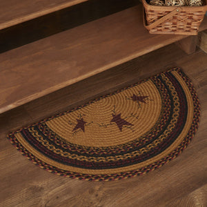 "Heritage Farms Star and Pip Half Circle Braided Rug 16.5x33"" - with Pad"