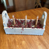 Ivory Flower Box with Timer Taper Candles Ivory / Burgundy- Primitive Star Quilt Shop